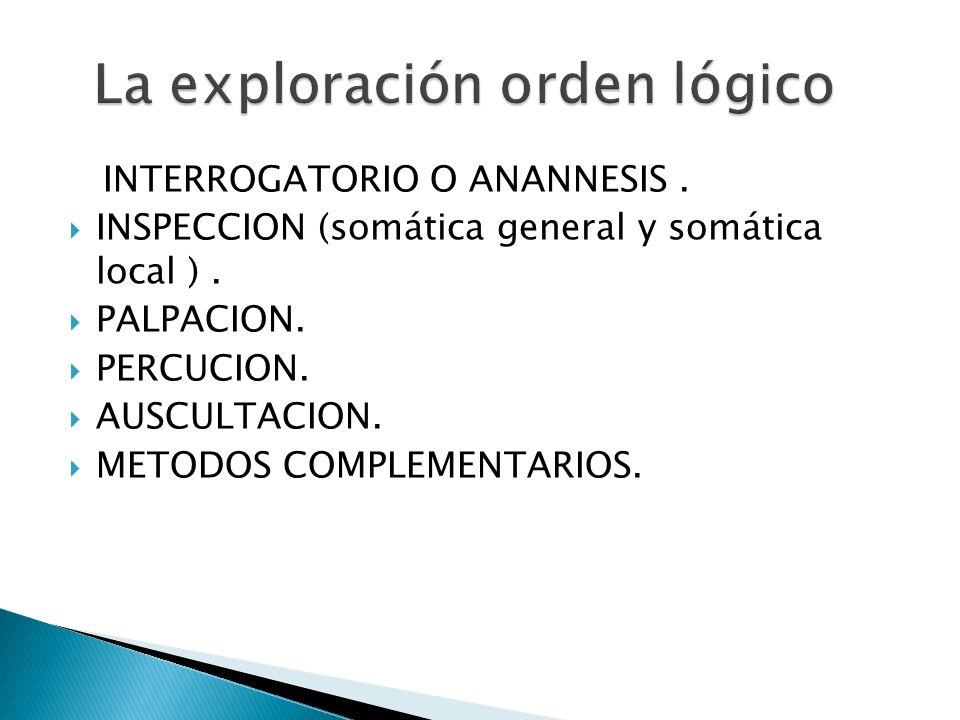 INTERROGATORIO O ANANNESIS. INSPECCION (somática general y somática local ). PALPACION. PERCUCION. AUSCULTACION. METODOS COMPLEMENTARIOS.
