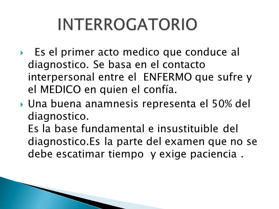 Es el primer acto medico que conduce al diagnostico. Se basa en el contacto interpersonal entre el ENFERMO que sufre y el MEDICO en quien el confía. U