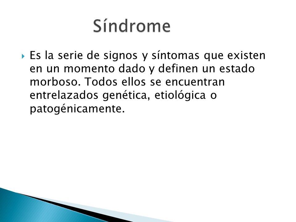 Es la serie de signos y síntomas que existen en un momento dado y definen un estado morboso. Todos ellos se encuentran entrelazados genética, etiológi