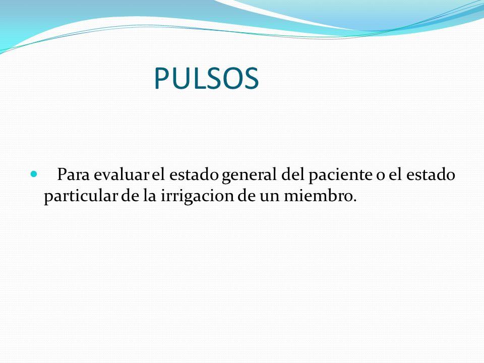 Mas usados clinicamente CAROTIDEO FEMORAL POPLITEO AXILAR RADIAL CUBITAL PEDIO TIBIAL POSTERIOR ETC