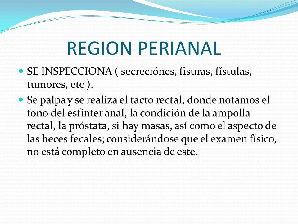 REGION PERIANAL SE INSPECCIONA ( secreciónes, fisuras, fístulas, tumores, etc ). Se palpa y se realiza el tacto rectal, donde notamos el tono del esfí