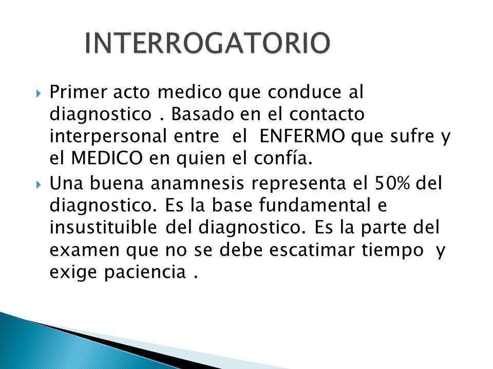 Primer acto medico que conduce al diagnostico. Basado en el contacto interpersonal entre el ENFERMO que sufre y el MEDICO en quien el confía. Una buen