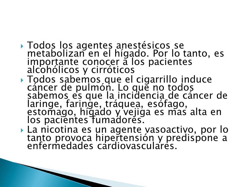Todos los agentes anestésicos se metabolizan en el hígado. Por lo tanto, es importante conocer a los pacientes alcohólicos y cirróticos Todos sabemos