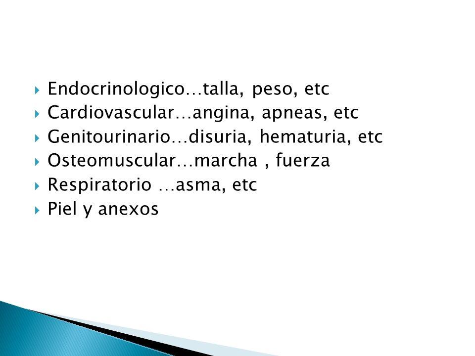 Endocrinologico…talla, peso, etc Cardiovascular…angina, apneas, etc Genitourinario…disuria, hematuria, etc Osteomuscular…marcha, fuerza Respiratorio …