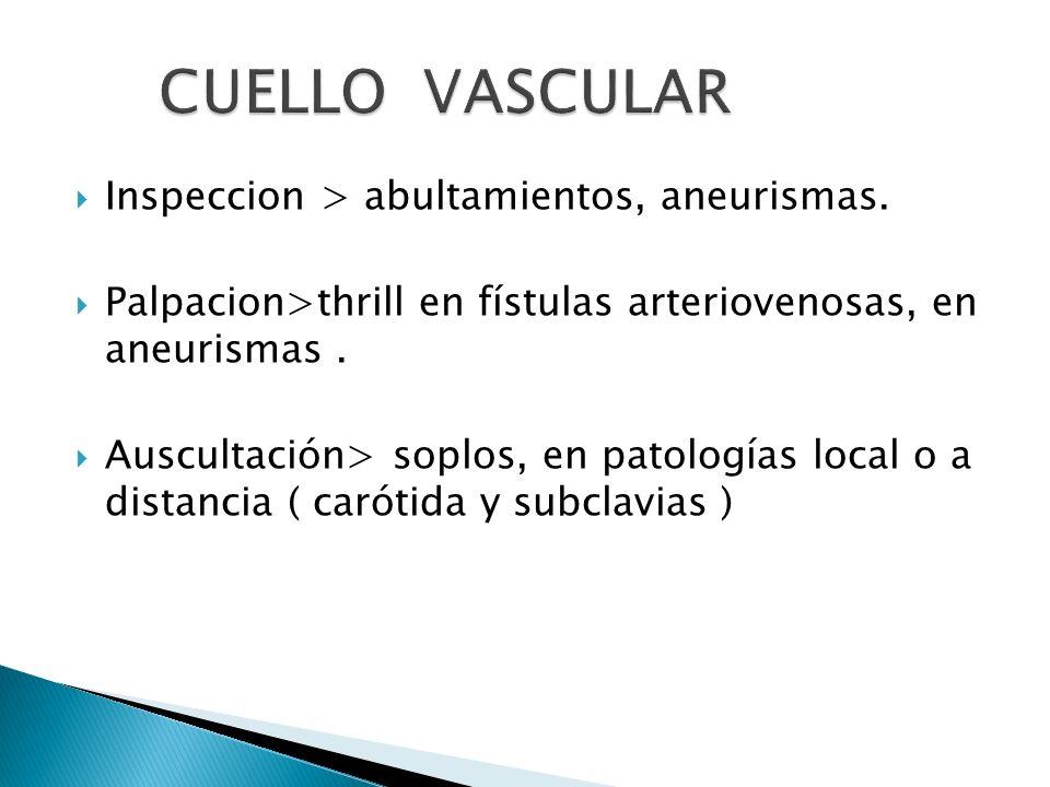 Inspeccion > abultamientos, aneurismas. Palpacion>thrill en fístulas arteriovenosas, en aneurismas. Auscultación> soplos, en patologías local o a dist