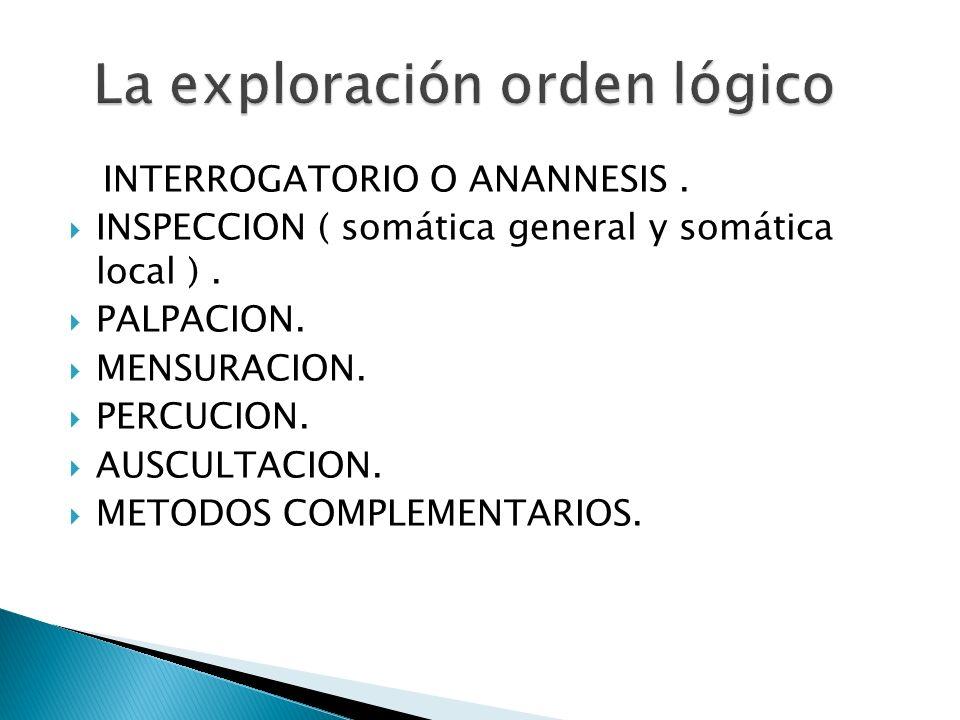 INTERROGATORIO O ANANNESIS. INSPECCION ( somática general y somática local ). PALPACION. MENSURACION. PERCUCION. AUSCULTACION. METODOS COMPLEMENTARIOS