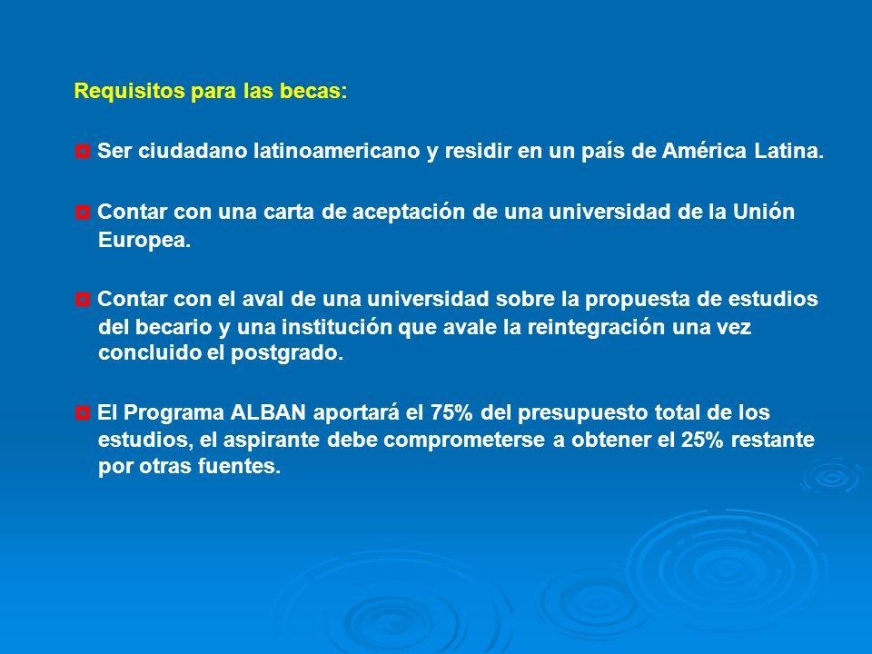 Requisitos para las becas: Ser ciudadano latinoamericano y residir en un país de América Latina.