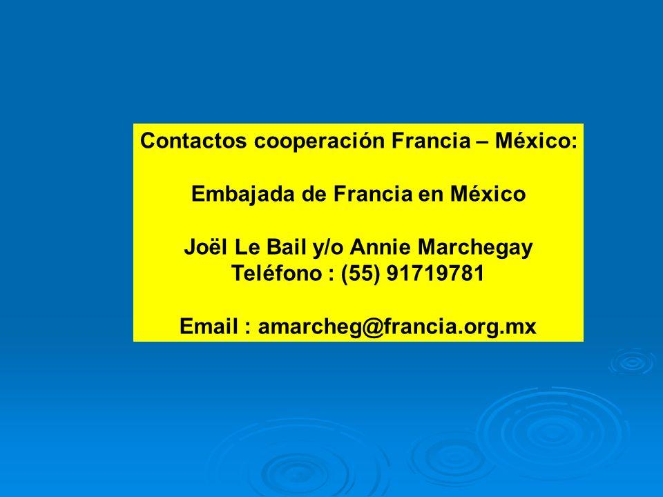 Contactos cooperación Francia – México: Embajada de Francia en México Joël Le Bail y/o Annie Marchegay Teléfono : (55) 91719781 Email : amarcheg@franc