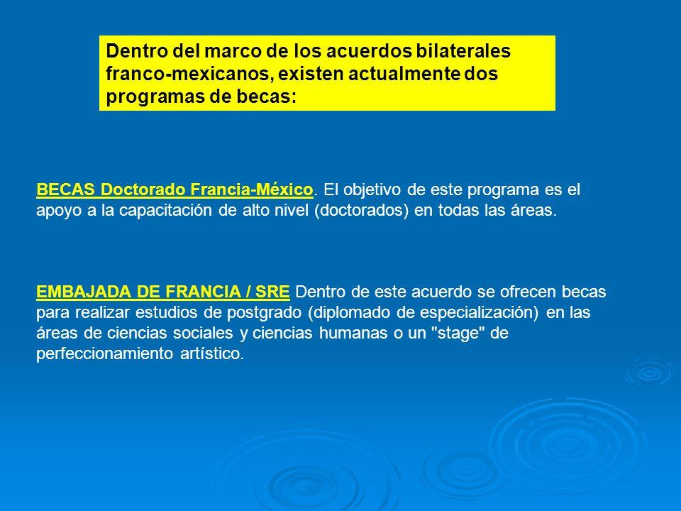 BECAS Doctorado Francia-México. El objetivo de este programa es el apoyo a la capacitación de alto nivel (doctorados) en todas las áreas. EMBAJADA DE