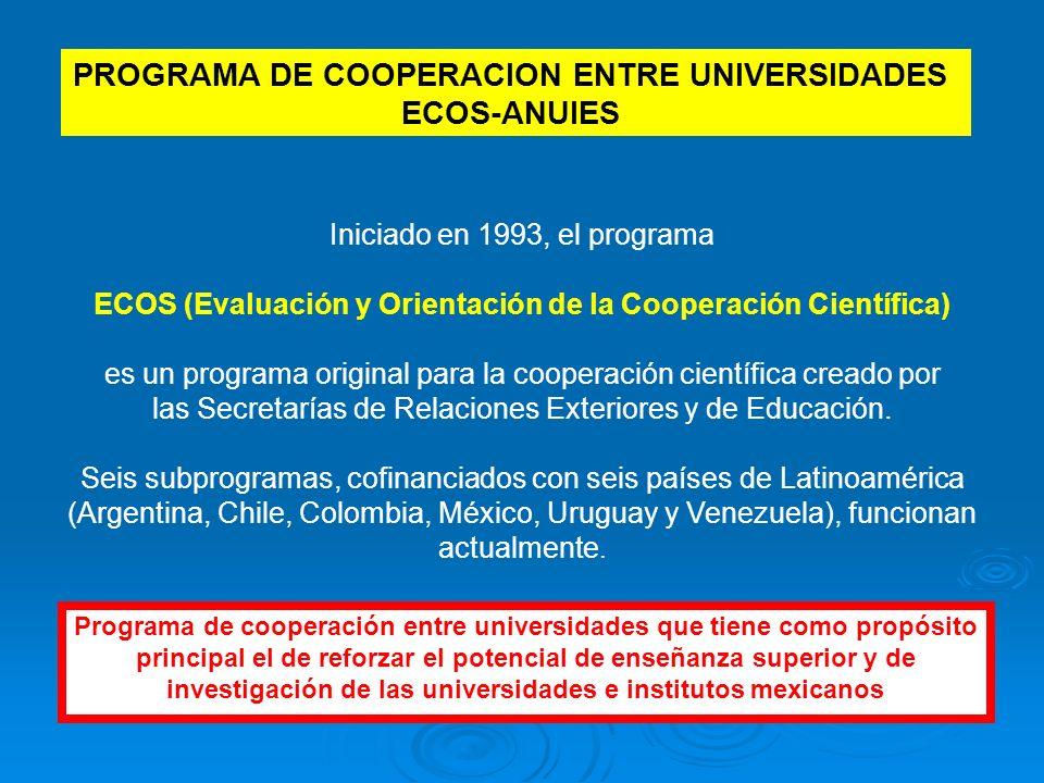 Iniciado en 1993, el programa ECOS (Evaluación y Orientación de la Cooperación Científica) es un programa original para la cooperación científica creado por las Secretarías de Relaciones Exteriores y de Educación.