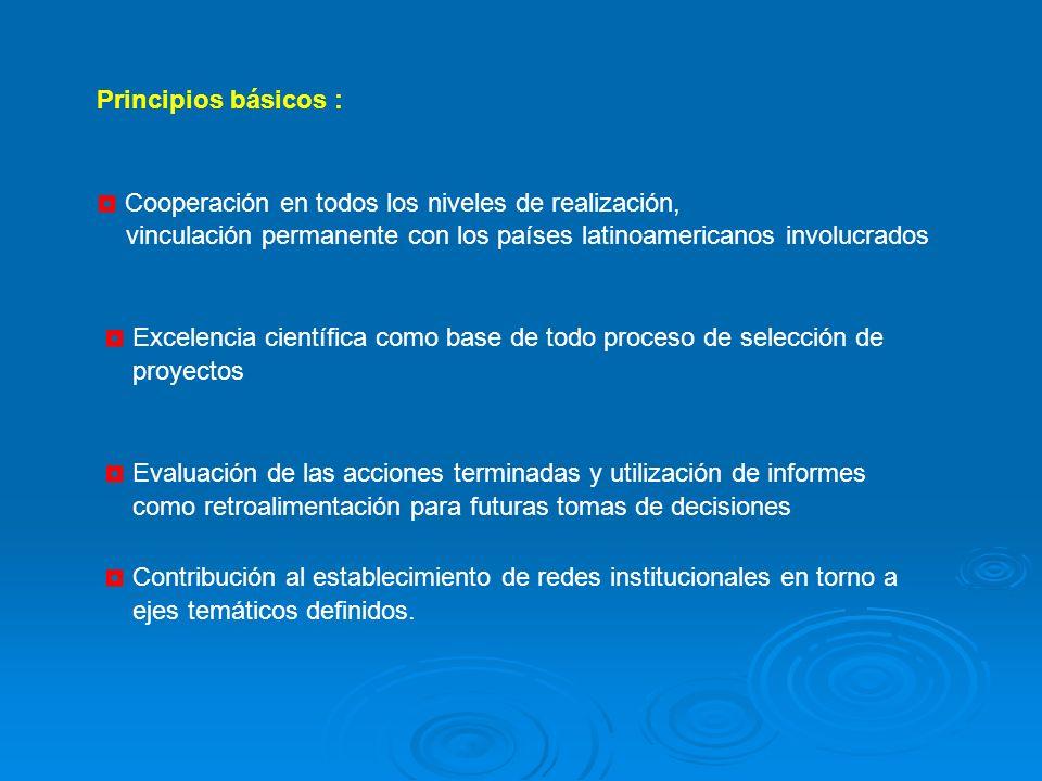 Principios básicos : Cooperación en todos los niveles de realización, vinculación permanente con los países latinoamericanos involucrados Excelencia científica como base de todo proceso de selección de proyectos Evaluación de las acciones terminadas y utilización de informes como retroalimentación para futuras tomas de decisiones Contribución al establecimiento de redes institucionales en torno a ejes temáticos definidos.
