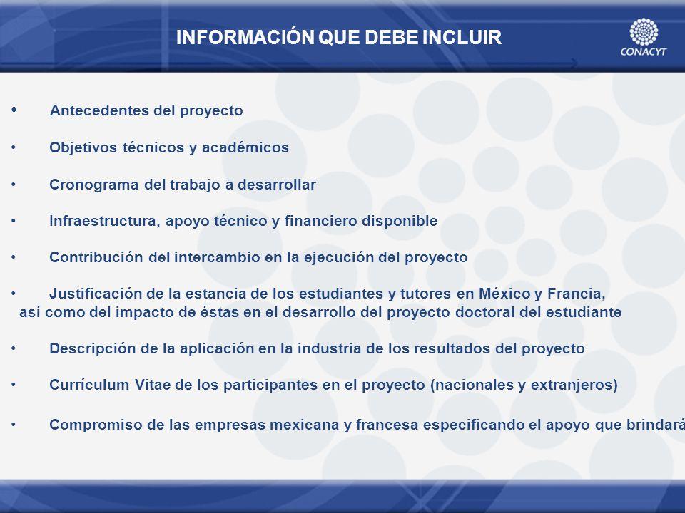 INFORMACIÓN QUE DEBE INCLUIR Antecedentes del proyecto Objetivos técnicos y académicos Cronograma del trabajo a desarrollar Infraestructura, apoyo téc