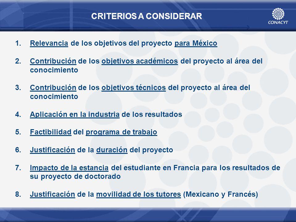 CRITERIOS A CONSIDERAR 1.Relevancia de los objetivos del proyecto para México 2.Contribución de los objetivos académicos del proyecto al área del cono