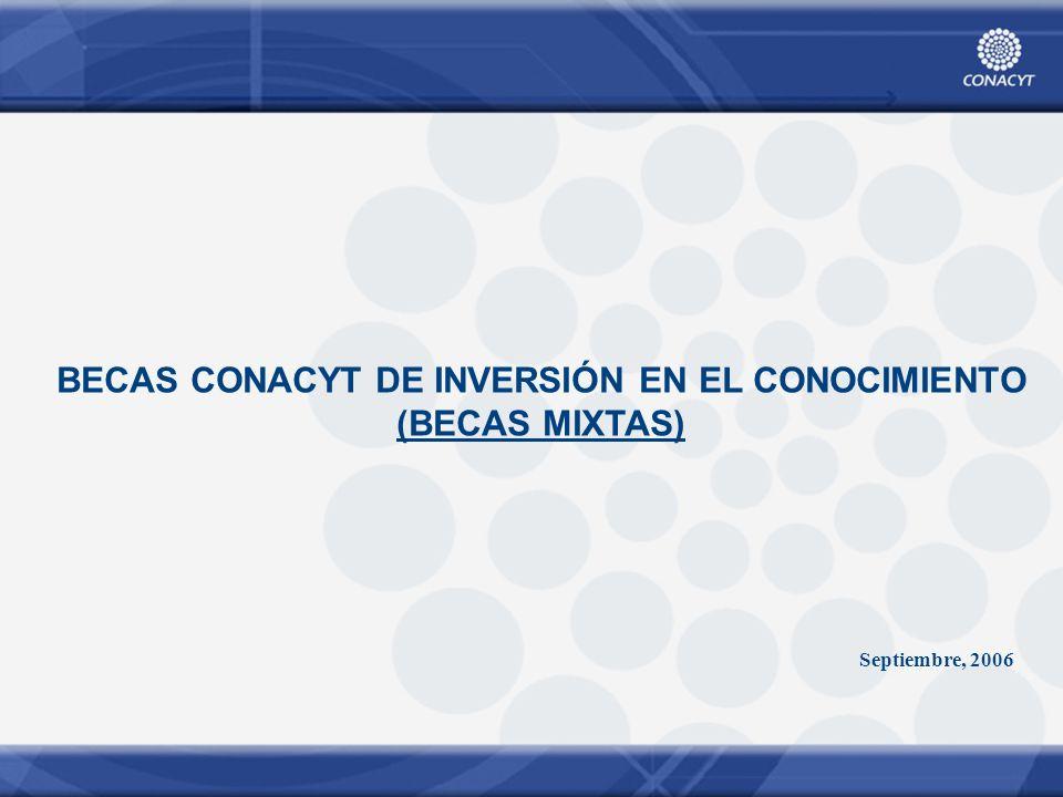 BECAS CONACYT DE INVERSIÓN EN EL CONOCIMIENTO (BECAS MIXTAS) Septiembre, 2006