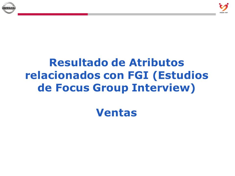 Resultado de Atributos relacionados con FGI (Estudios de Focus Group Interview) Ventas