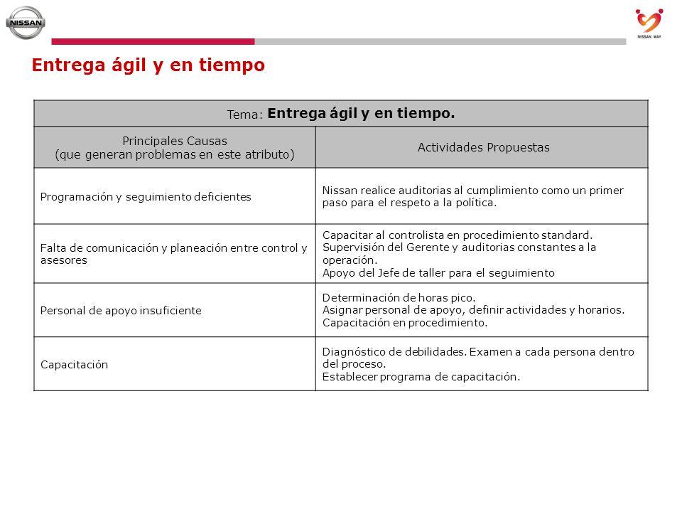 Entrega ágil y en tiempo Tema: Entrega ágil y en tiempo. Principales Causas (que generan problemas en este atributo) Actividades Propuestas Programaci