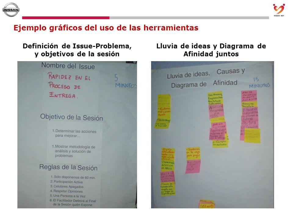 Ejemplo gráficos del uso de las herramientas Definición de Issue-Problema, y objetivos de la sesión Lluvia de ideas y Diagrama de Afinidad juntos