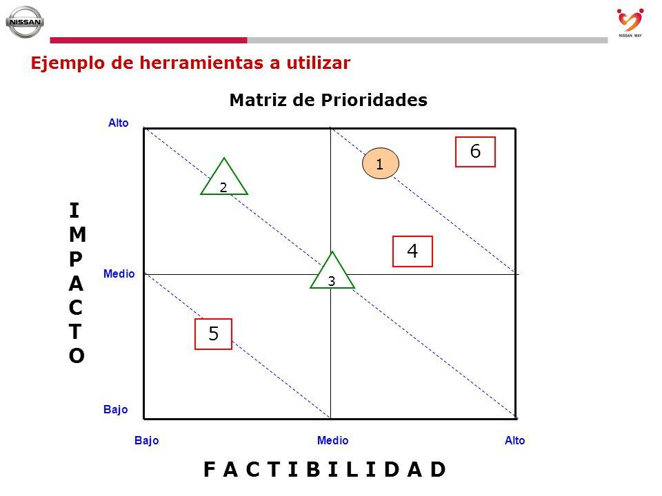 Ejemplo de herramientas a utilizar Alto Medio Bajo MedioAlto IMPACTOIMPACTO Matriz de Prioridades F A C T I B I L I D A D 1 3 5 6 4 2