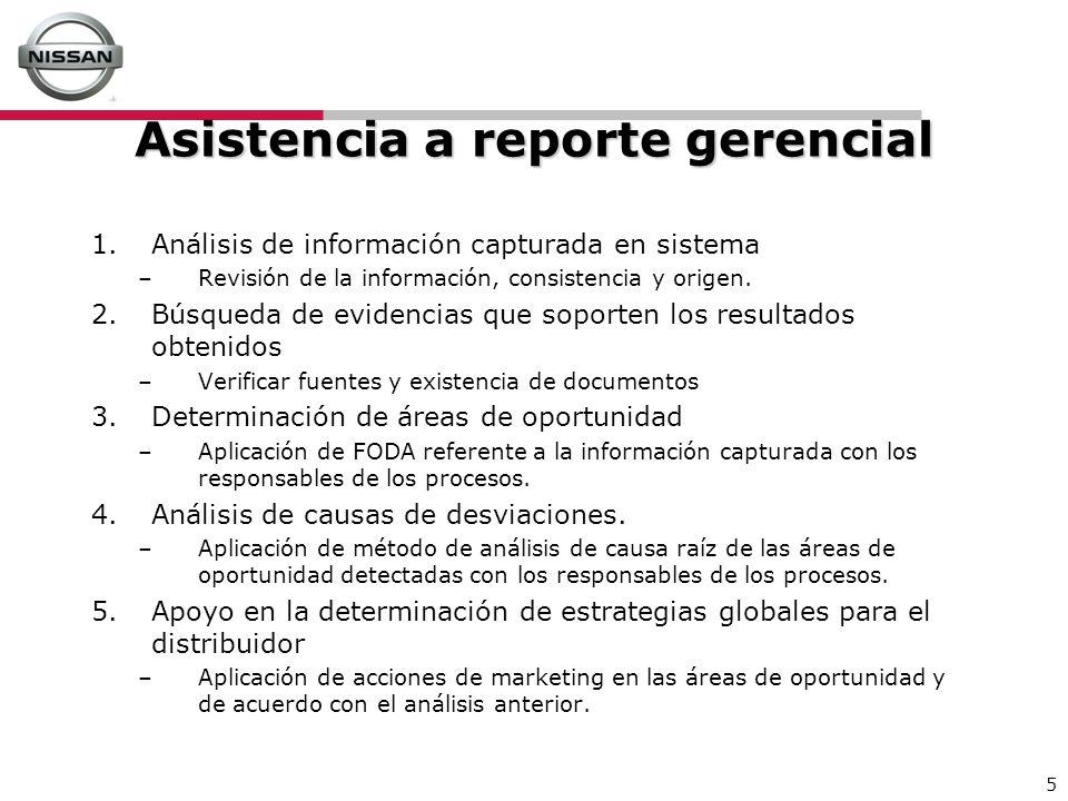 5 Asistencia a reporte gerencial 1.Análisis de información capturada en sistema –Revisión de la información, consistencia y origen. 2.Búsqueda de evid