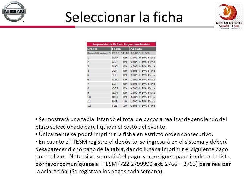 Seleccionar la ficha Se mostrará una tabla listando el total de pagos a realizar dependiendo del plazo seleccionado para liquidar el costo del evento.