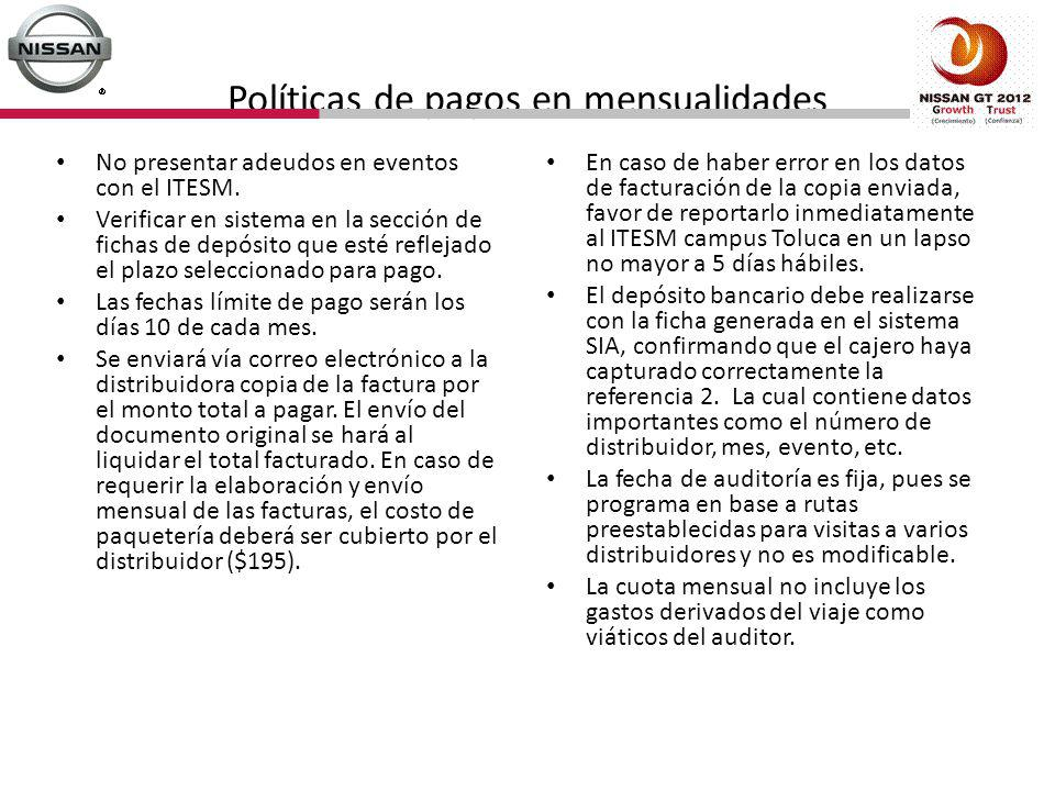 Políticas de pagos en mensualidades No presentar adeudos en eventos con el ITESM. Verificar en sistema en la sección de fichas de depósito que esté re