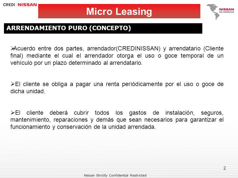 Nissan Strictly Confidential Restricted BENEFICIOS MICRO EMPRESAS Micro Leasing