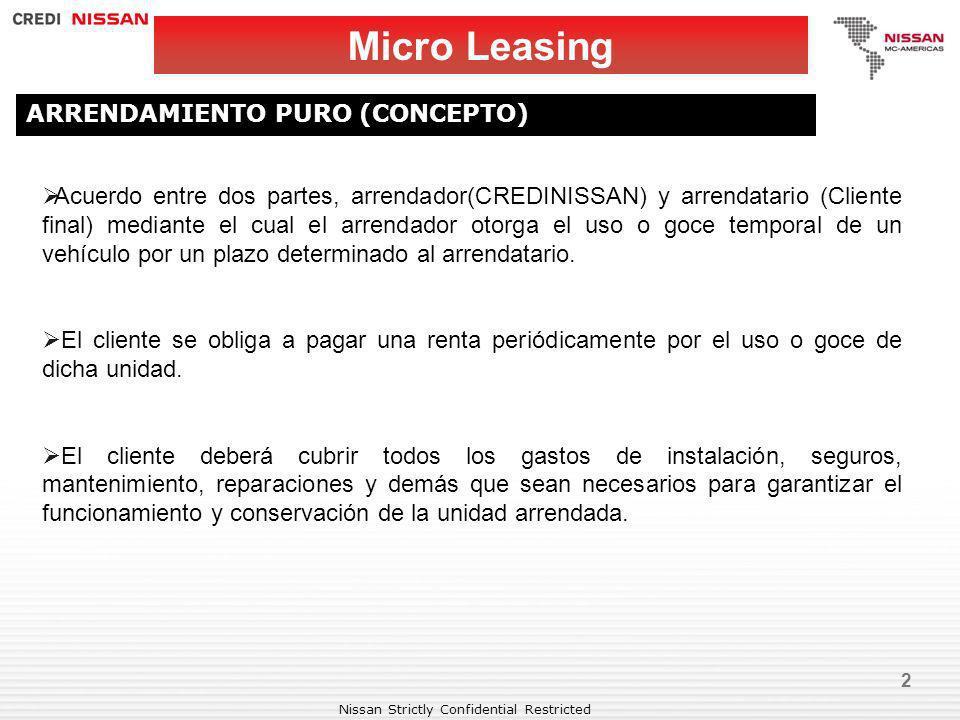 Nissan Strictly Confidential Restricted 2 Micro Leasing ARRENDAMIENTO PURO (CONCEPTO) Acuerdo entre dos partes, arrendador(CREDINISSAN) y arrendatario