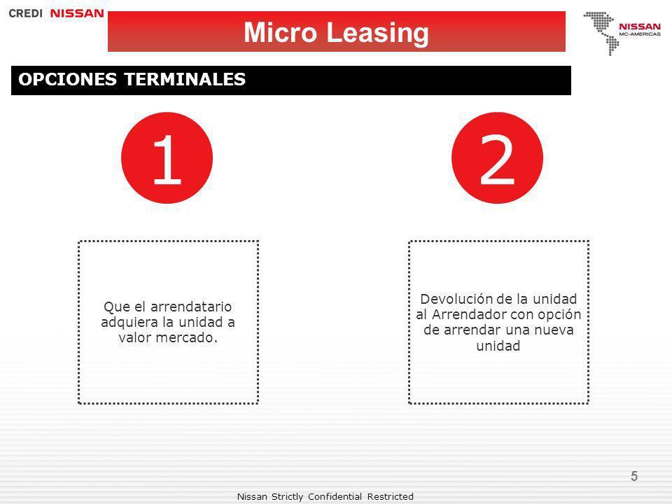 Nissan Strictly Confidential Restricted 5 Micro Leasing OPCIONES TERMINALES 1 Que el arrendatario adquiera la unidad a valor mercado. 2 Devolución de