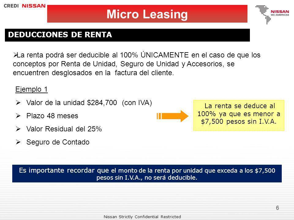Nissan Strictly Confidential Restricted 6 Micro Leasing DEDUCCIONES DE RENTA La renta podrá ser deducible al 100% ÚNICAMENTE en el caso de que los con