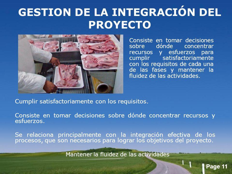 Page 11 GESTION DE LA INTEGRACIÓN DEL PROYECTO Cumplir satisfactoriamente con los requisitos. Consiste en tomar decisiones sobre dónde concentrar recu