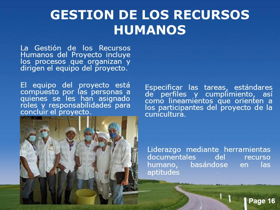 Page 16 GESTION DE LOS RECURSOS HUMANOS La Gestión de los Recursos Humanos del Proyecto incluye los procesos que organizan y dirigen el equipo del pro