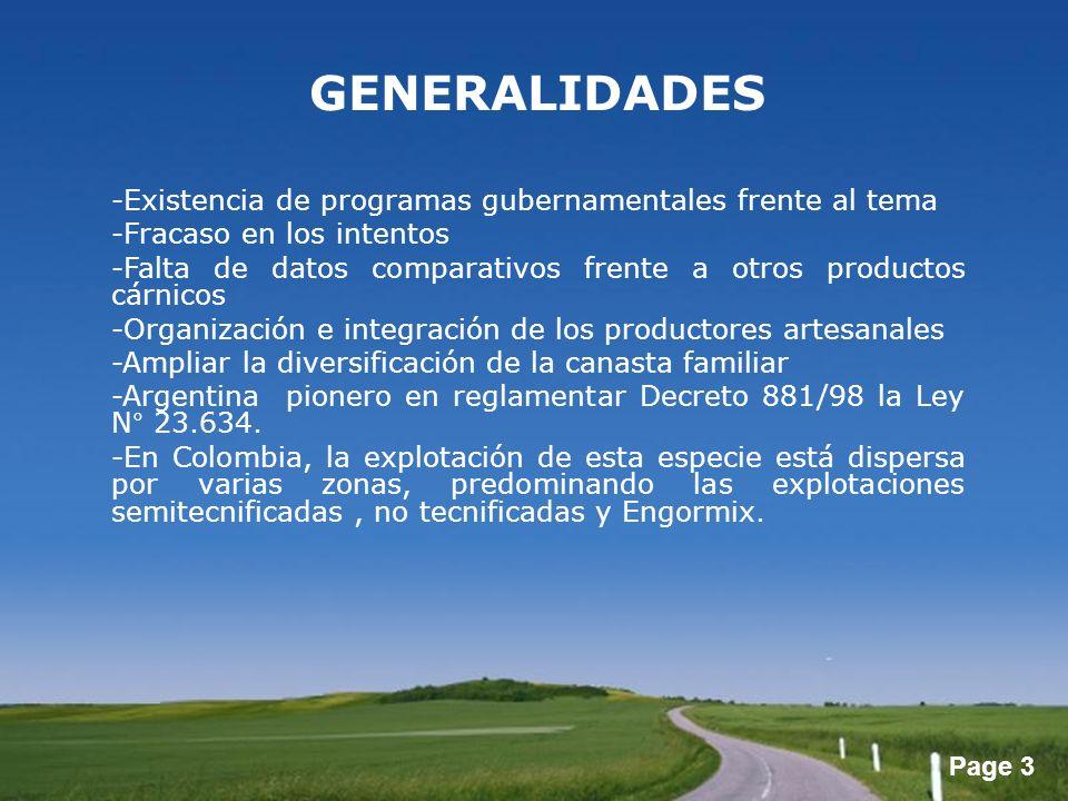 Page 3 GENERALIDADES -Existencia de programas gubernamentales frente al tema -Fracaso en los intentos -Falta de datos comparativos frente a otros prod