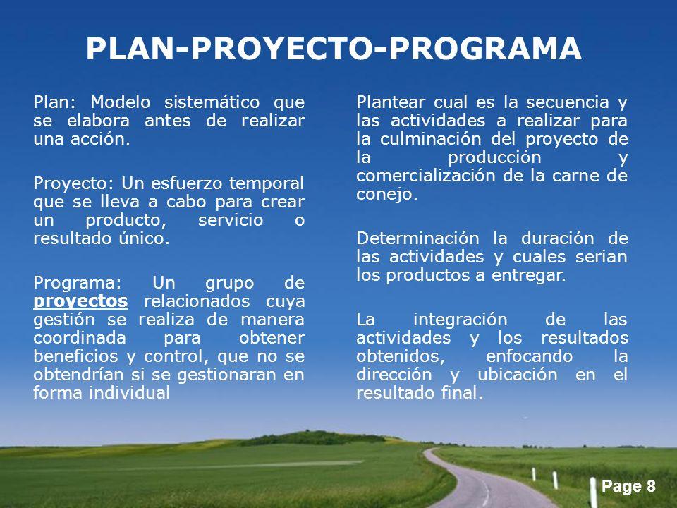 Page 8 Plan: Modelo sistemático que se elabora antes de realizar una acción. Proyecto: Un esfuerzo temporal que se lleva a cabo para crear un producto