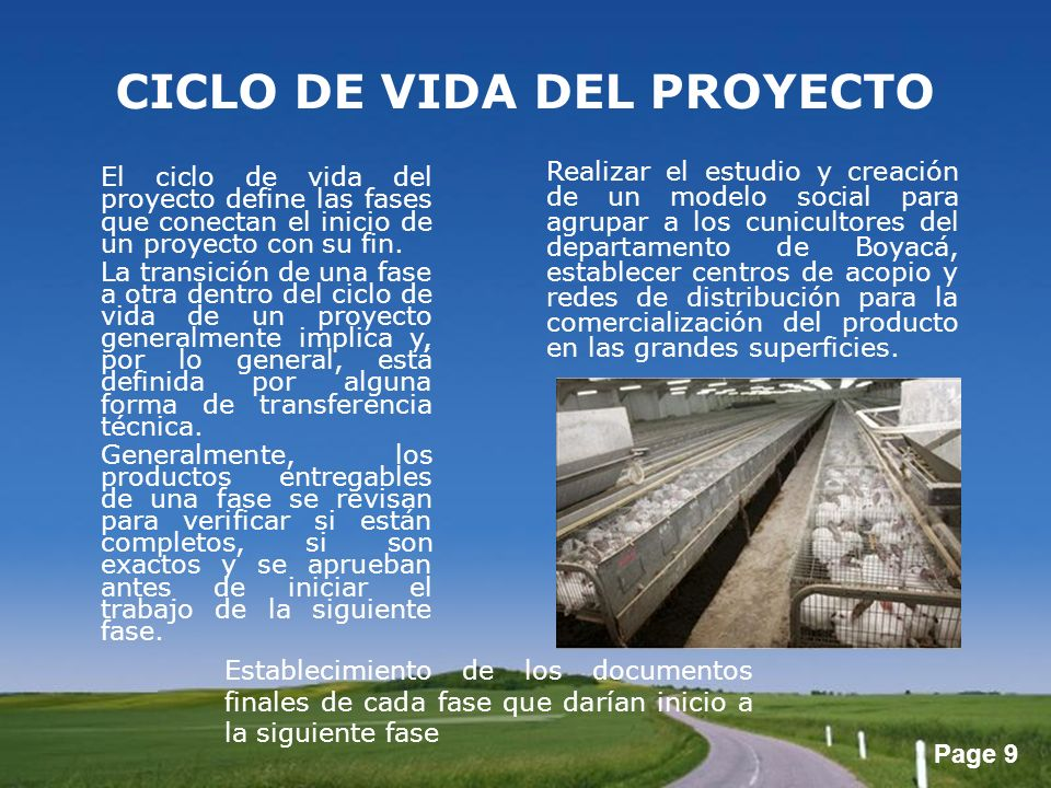 Page 9 CICLO DE VIDA DEL PROYECTO El ciclo de vida del proyecto define las fases que conectan el inicio de un proyecto con su fin. La transición de un