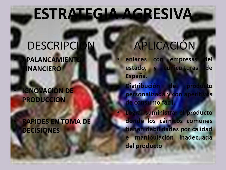 ESTRATEGIA AGRESIVA DESCRIPCION APALANCAMIENTO FINANCIERO IGNOVACION DE PRODUCCION RAPIDES EN TOMA DE DECISIONES APLICACIÓN enlaces con empresas del estado, y cuniculturas de España.