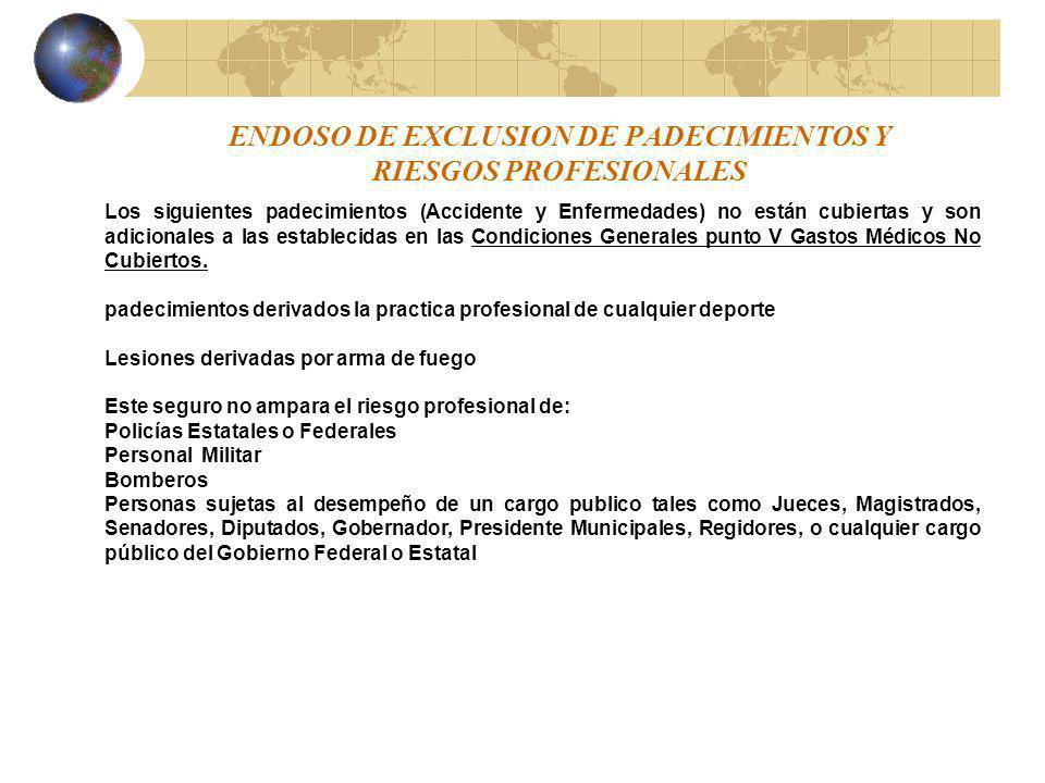 ENDOSO DE EXCLUSION DE PADECIMIENTOS Y RIESGOS PROFESIONALES Los siguientes padecimientos (Accidente y Enfermedades) no están cubiertas y son adiciona