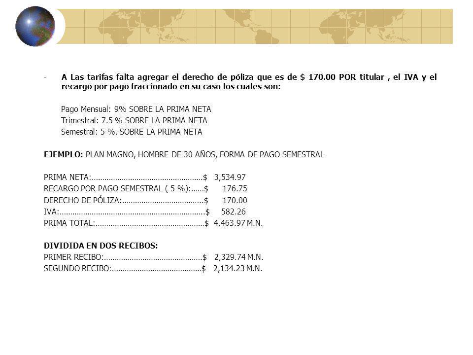 -A Las tarifas falta agregar el derecho de póliza que es de $ 170.00 POR titular, el IVA y el recargo por pago fraccionado en su caso los cuales son: