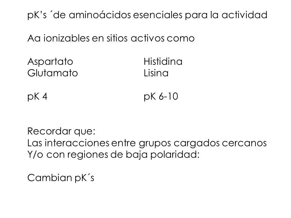 pKs ´de aminoácidos esenciales para la actividad Aa ionizables en sitios activos como AspartatoHistidina GlutamatoLisina pK 4pK 6-10 Recordar que: Las