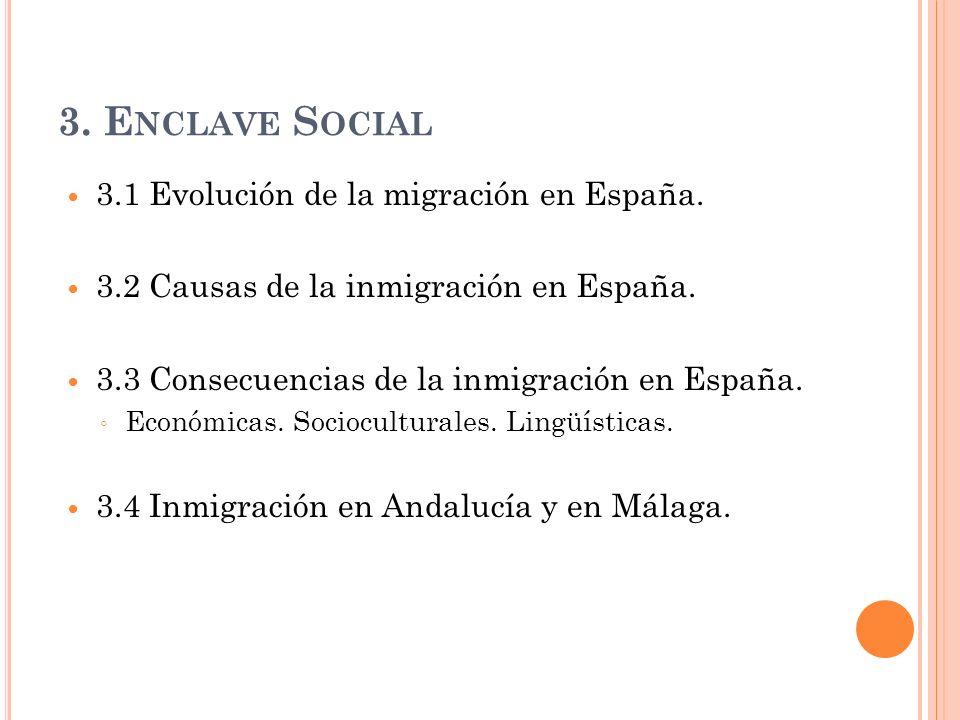 3. E NCLAVE S OCIAL 3.1 Evolución de la migración en España. 3.2 Causas de la inmigración en España. 3.3 Consecuencias de la inmigración en España. Ec