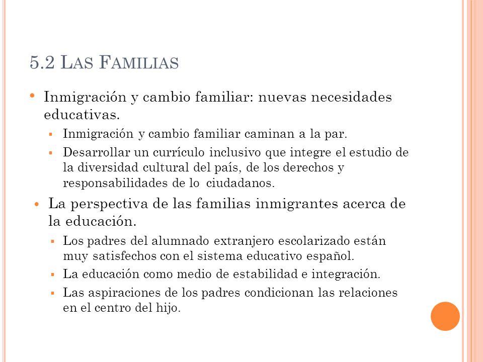 5.2 L AS F AMILIAS Inmigración y cambio familiar: nuevas necesidades educativas. Inmigración y cambio familiar caminan a la par. Desarrollar un curríc