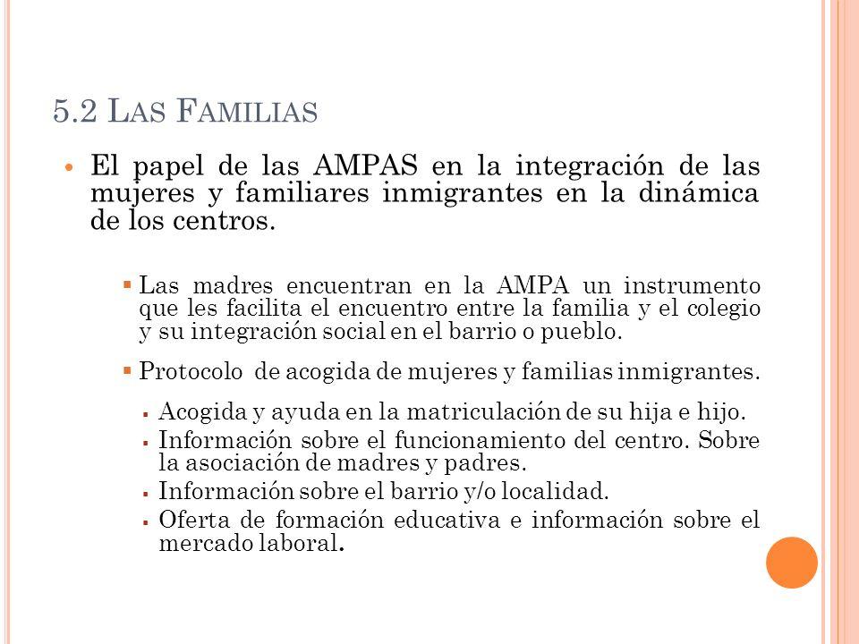 5.2 L AS F AMILIAS El papel de las AMPAS en la integración de las mujeres y familiares inmigrantes en la dinámica de los centros. Las madres encuentra