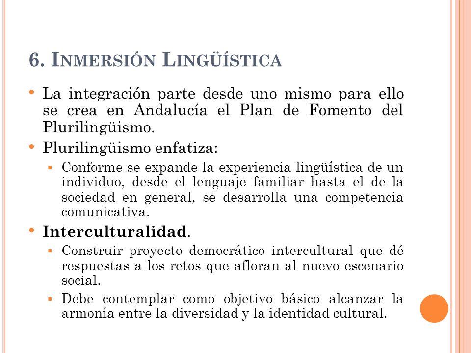 6. I NMERSIÓN L INGÜÍSTICA La integración parte desde uno mismo para ello se crea en Andalucía el Plan de Fomento del Plurilingüismo. Plurilingüismo e