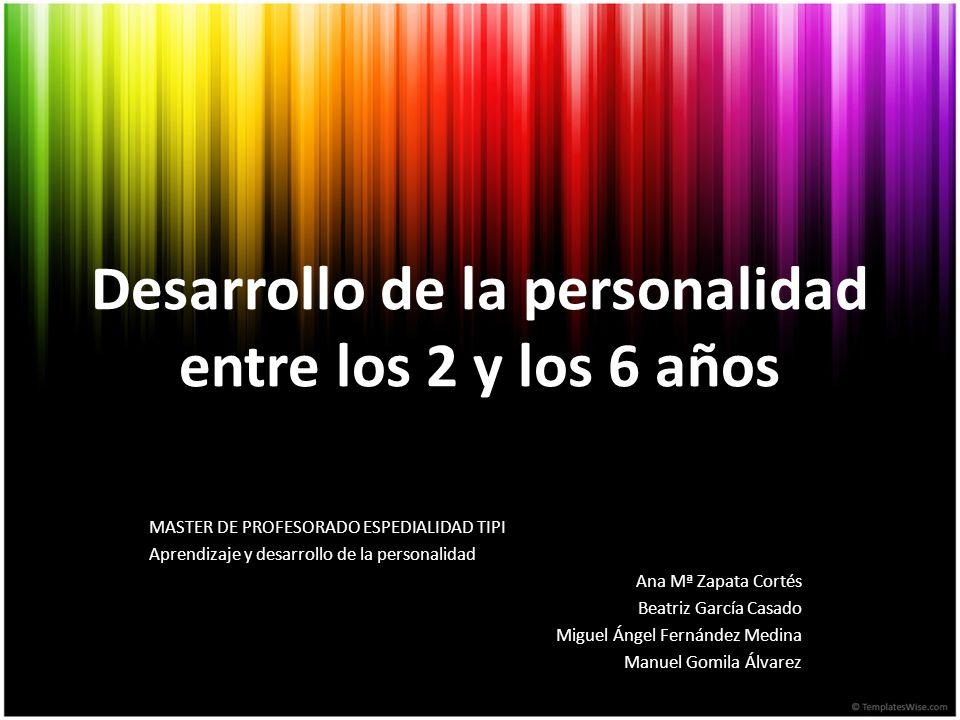 Desarrollo de la personalidad entre los 2 y los 6 años MASTER DE PROFESORADO ESPEDIALIDAD TIPI Aprendizaje y desarrollo de la personalidad Ana Mª Zapa