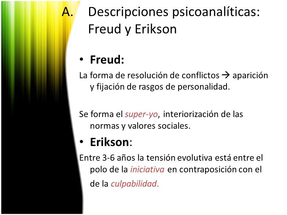 A.Descripciones psicoanalíticas: Freud y Erikson Freud: La forma de resolución de conflictos aparición y fijación de rasgos de personalidad. Se forma