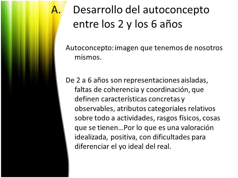 B.La autoestima: dimensiones y determinantes Entre 4-7 años los cuatro dominios distintos y relevantes para la autoestima: – Competencia física – Competencia cognitivo-académica – Aceptación por parte de los iguales – Aceptación por parte de los padres.
