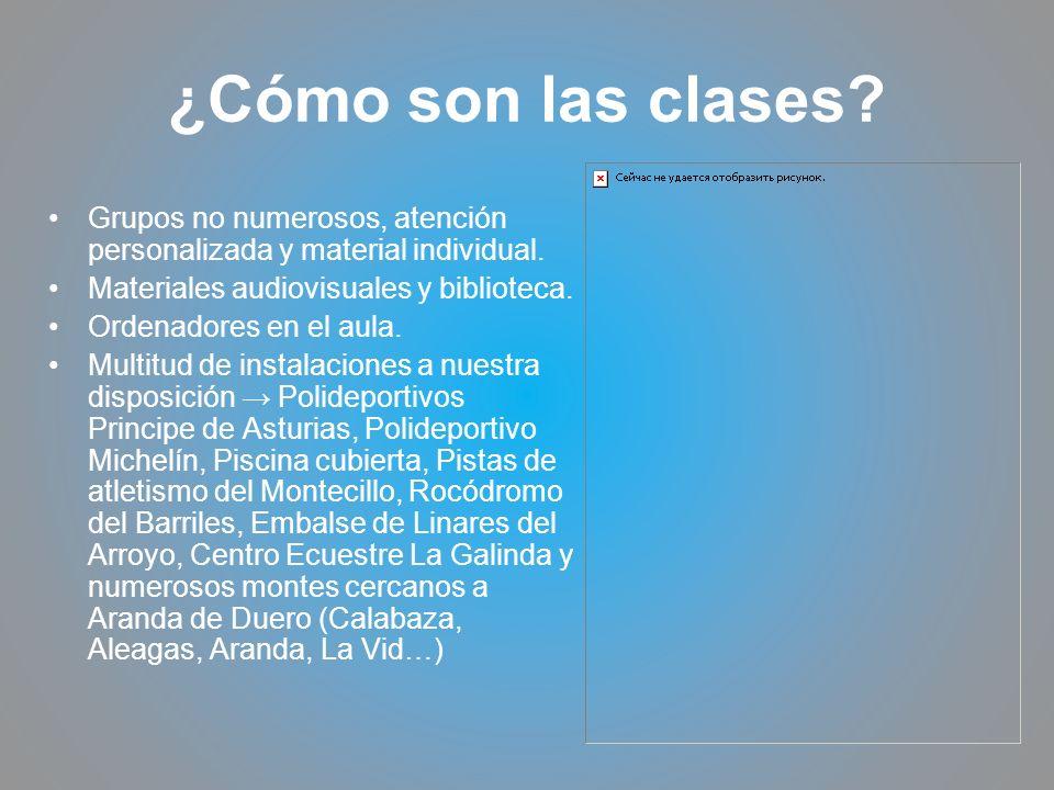 ¿Cómo son las clases? Grupos no numerosos, atención personalizada y material individual. Materiales audiovisuales y biblioteca. Ordenadores en el aula