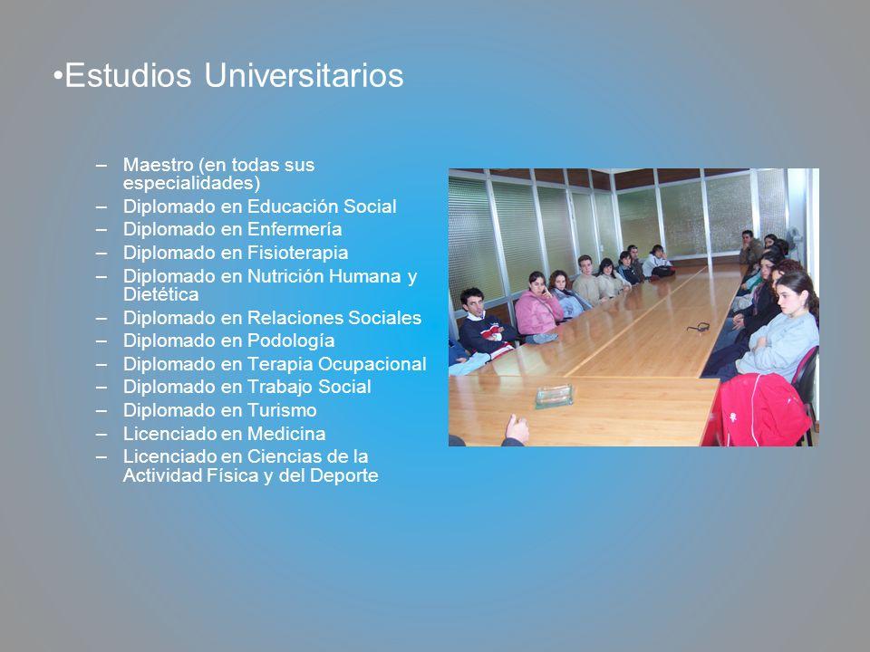 Estudios Universitarios –Maestro (en todas sus especialidades) –Diplomado en Educación Social –Diplomado en Enfermería –Diplomado en Fisioterapia –Dip