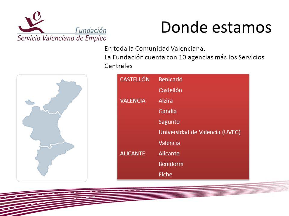 Donde estamos En toda la Comunidad Valenciana. La Fundación cuenta con 10 agencias más los Servicios Centrales