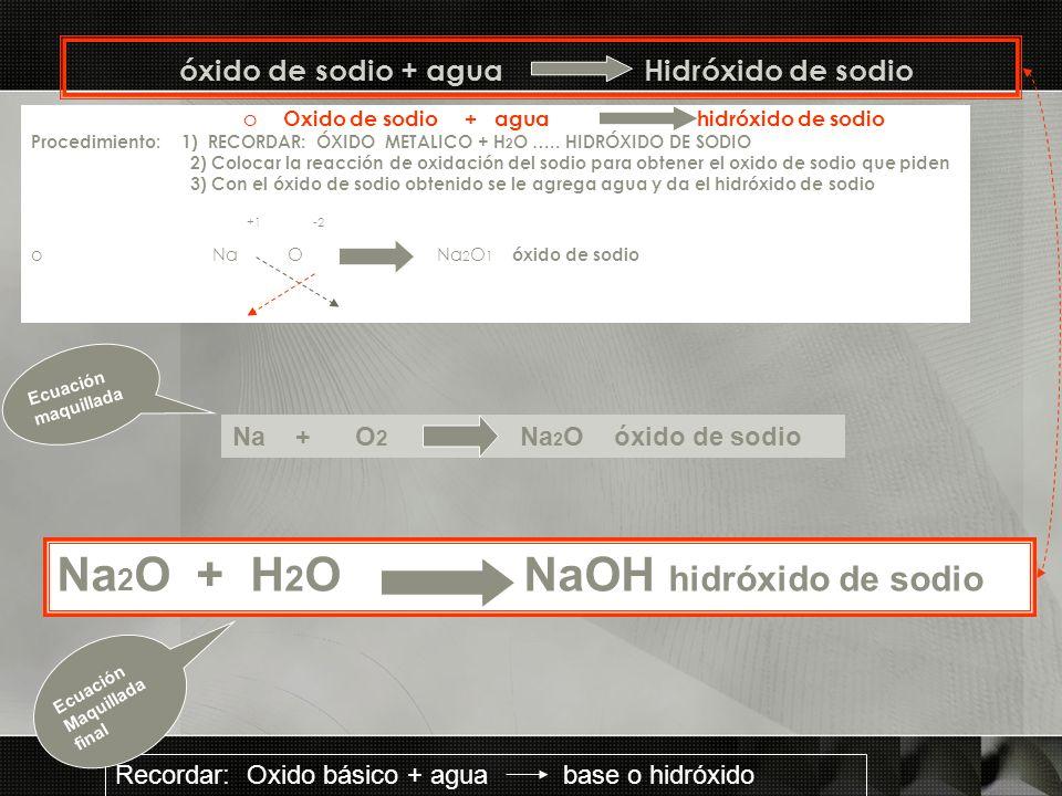 óxido de sodio + agua Hidróxido de sodio o Oxido de sodio + agua hidróxido de sodio Procedimiento: 1) RECORDAR: ÓXIDO METALICO + H 2 O ….. HIDRÓXIDO D