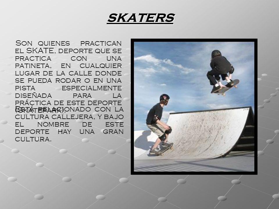SKATERS Son quienes practican el SKATE, deporte que se practica con una patineta, en cualquier lugar de la calle donde se pueda rodar o en una pista e